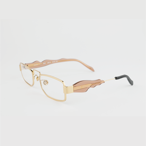 gold colour titanium rectangle optical frame with toffee colour acetate temples and a black tip 45 angled