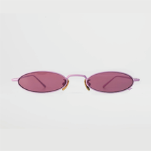 Load image into Gallery viewer, berry colour oval sunglasses in pink stainless steel frame with a tiny bug on the bottom of the right lens