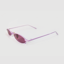 Load image into Gallery viewer, berry colour oval sunglasses in pink stainless steel frame with a tiny bug on the bottom of the right lens side shot