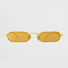 Load image into Gallery viewer, stadium shaped sunglasses with dark yellow lens and yellow stainless steel frame front