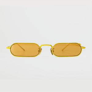 stadium shaped sunglasses with dark yellow lens and yellow stainless steel frame front