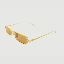 Load image into Gallery viewer, stadium shaped sunglasses with dark yellow lens and yellow stainless steel frame 45 angled
