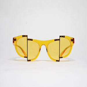 yellow jelly colour acetate frame with matching colour split polaroid lens