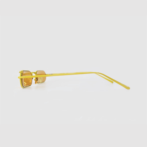 stadium shaped sunglasses with dark yellow lens and yellow stainless steel frame side shot
