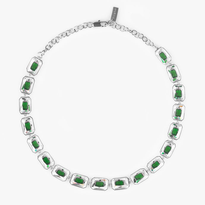 18 UNIT EMERALD CUT ZIRCON NECKLACE Emerald