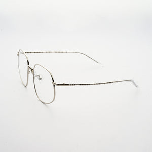 chrome colour stainless steel optical frame with morse code details on the temples 45 angled