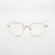 Load image into Gallery viewer, pale gold colour stainless steel optical frame with morse code details on the temples front