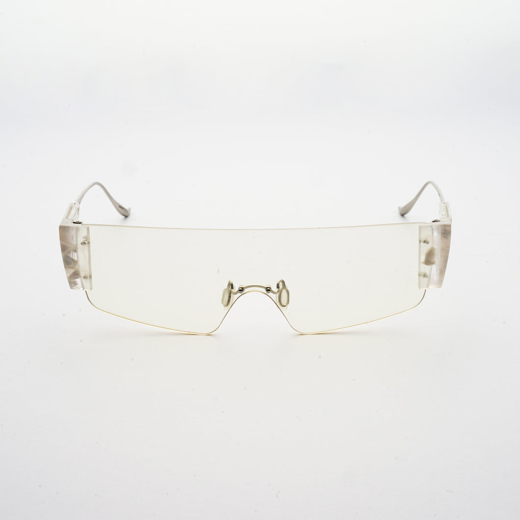 wide safety goggles style sunglasses with transparent one-piece lens front