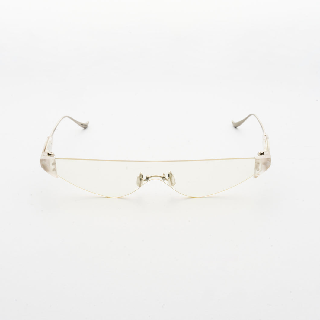 killer goggles style sunglasses with transparent one-piece lens and marble hinges front