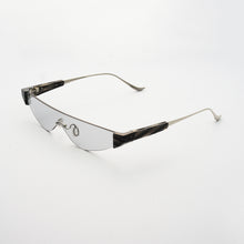 Load image into Gallery viewer, killer goggles style sunglasses with grey one-piece lens and marble hinges 45 angled