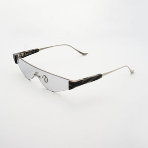 killer goggles style sunglasses with grey one-piece lens and marble hinges 45 angled