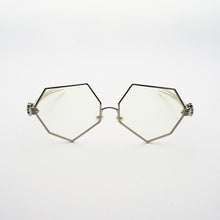 Load image into Gallery viewer, hexagon shaped lens with human hands style hinges and pearl nose pads front