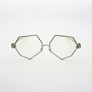 hexagon shaped lens with human hands style hinges and pearl nose pads front