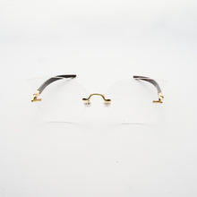 Load image into Gallery viewer, cat eye shaped optical lens with pearl nose pads and fountain pen style temples  front
