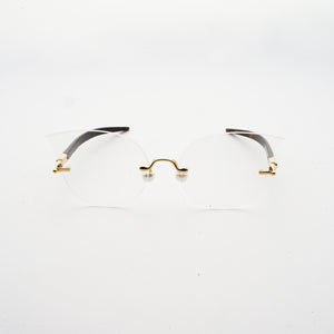 cat eye shaped optical lens with pearl nose pads and fountain pen style temples  front