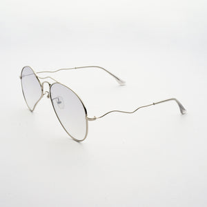 liquified aviator frames in chrome colour with grey polaroid lens 45 angled
