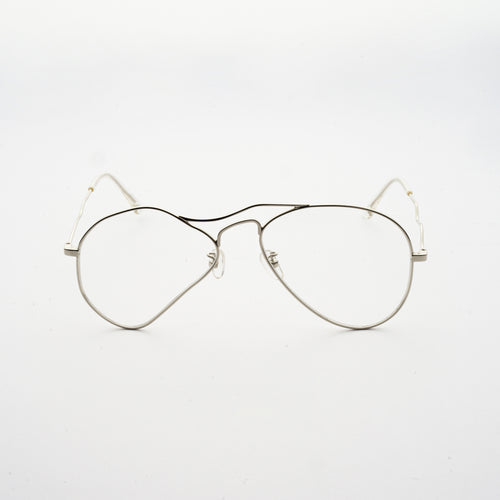 liquified aviator frames in chrome colour with clear nylon lens front