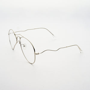 liquified aviator frames in chrome colour with clear nylon lens 45 angled