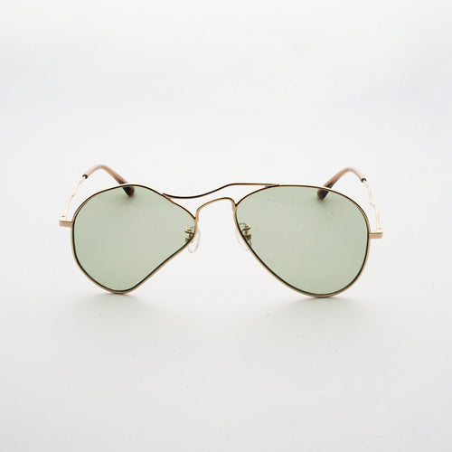 liquified aviator frames in gold colour with green tea colour polaroid lens front