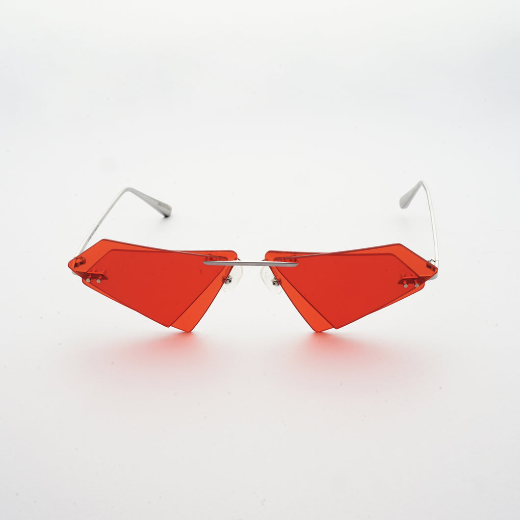 rimless sunglasses with double layered red lens in matrix shape and chrome colour frame front