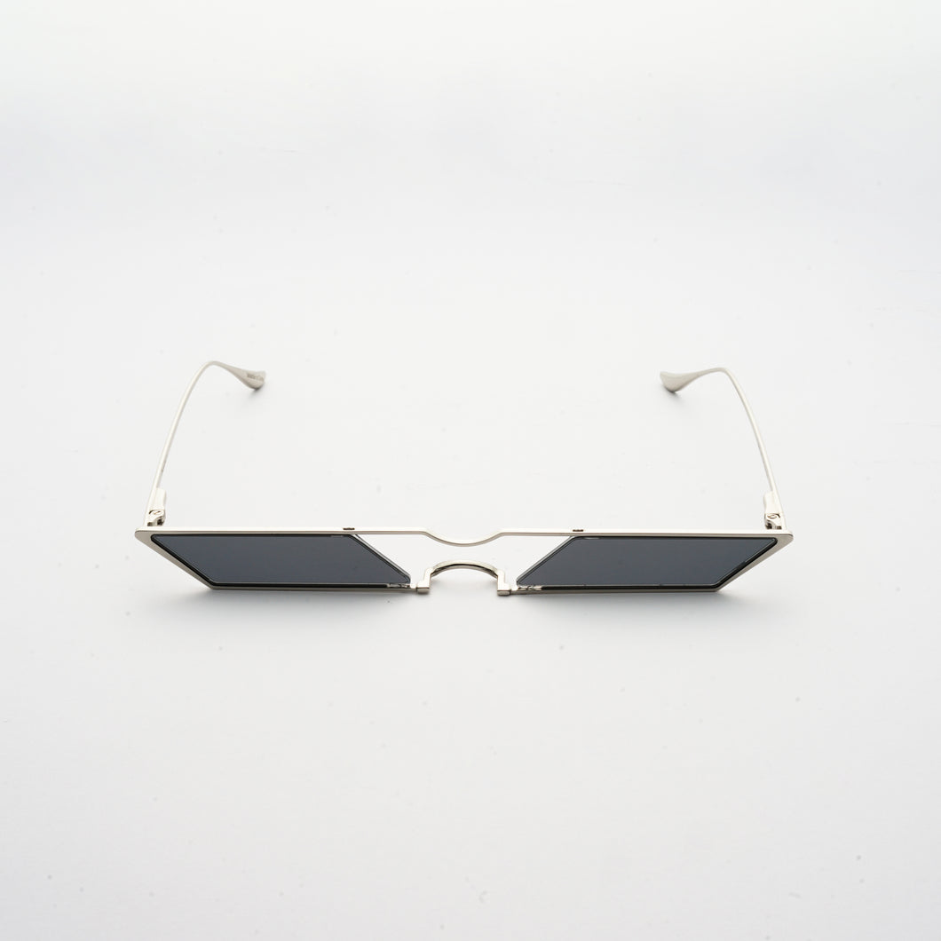 sunglasses with rhombus shaped grey lens and silver frames front