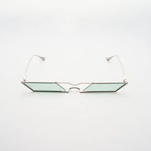Load image into Gallery viewer, sunglasses with rhombus shaped mint lens and silver frames front