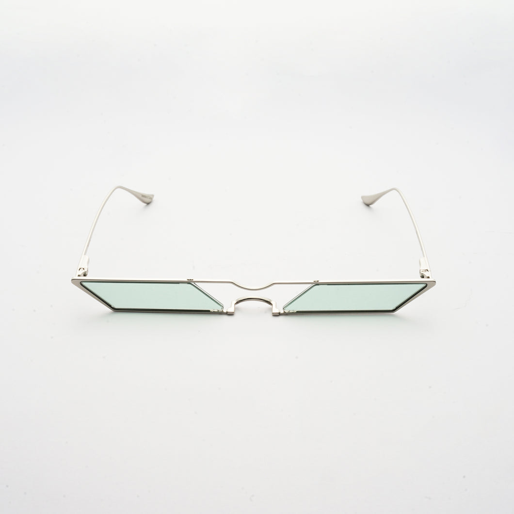 sunglasses with rhombus shaped mint lens and silver frames front