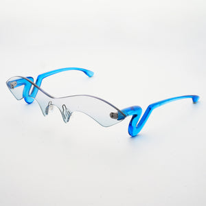 blue jelly colour acetate temples with blue gradient nylon one-piece lens 45 angled