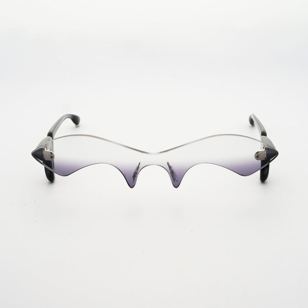 black acetate temples with grey gradient nylon one-piece lens front