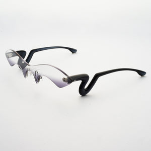 black acetate temples with grey gradient nylon one-piece lens 45 angled