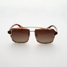 Load image into Gallery viewer, testudinarious acetate frame with crossed gold rims and gradient brown lens front