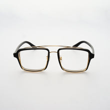 Load image into Gallery viewer, black acetate frame with crossed gold rims and clear nylon lens 45 angled