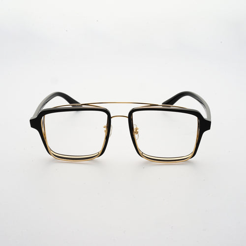 black acetate frame with crossed gold rims and clear nylon lens 45 angled