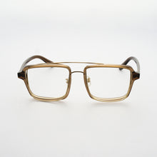 Load image into Gallery viewer, transparent brown acetate frame with crossed gold rims and clear nylon lens front