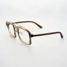 Load image into Gallery viewer, transparent brown acetate frame with crossed gold rims and clear nylon lens 45 angled