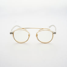 Load image into Gallery viewer, clear acetate round frames with crossed gold rims and clear nylon lens front