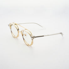 Load image into Gallery viewer, clear acetate round frames with crossed gold rims and clear nylon lens 45 angled