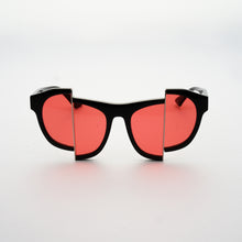 Load image into Gallery viewer, black acetate frame sunglasses with split red polaroid lens