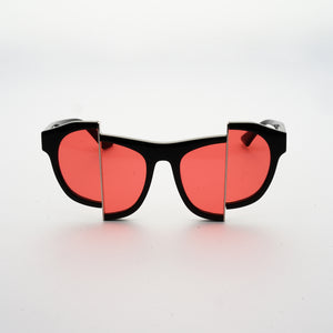 black acetate frame sunglasses with split red polaroid lens