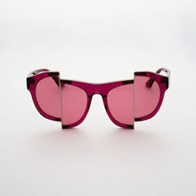 Load image into Gallery viewer, berry red jelly colour acetate frame with matching colour split polaroid lens front
