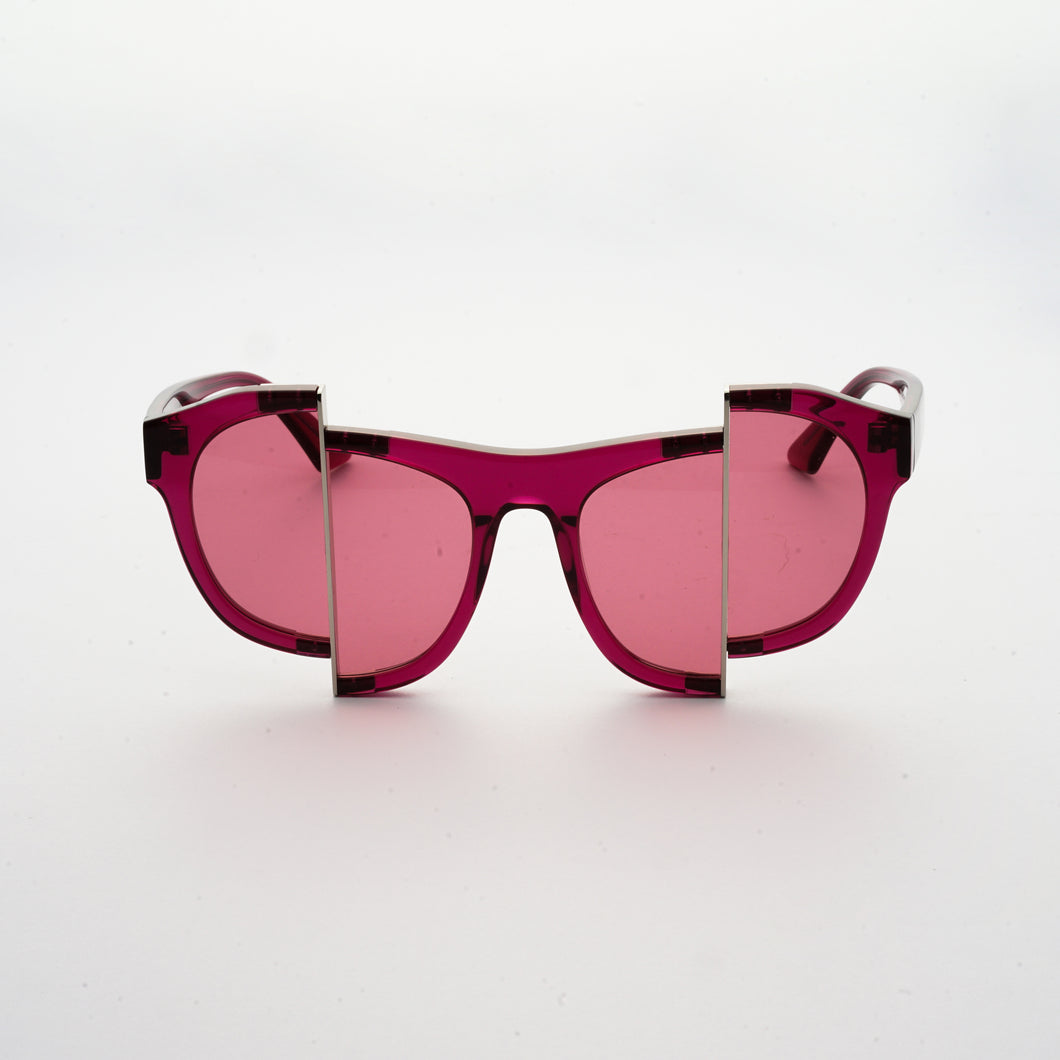 berry red jelly colour acetate frame with matching colour split polaroid lens front