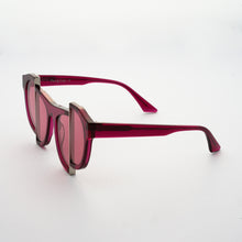 Load image into Gallery viewer, berry red jelly colour acetate frame with matching colour split polaroid lens 45 angled