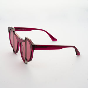 berry red jelly colour acetate frame with matching colour split polaroid lens 45 angled
