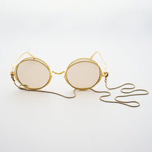 Load image into Gallery viewer, round crossed rims optical frames with chain in gold colour front