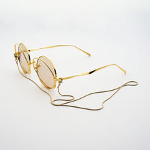 Load image into Gallery viewer, round crossed rims optical frames with chain in gold colour 45 angled
