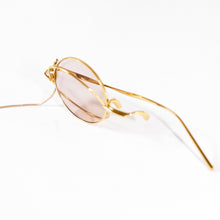 Load image into Gallery viewer, round crossed rims monocle with chain in gold colour 45 angled