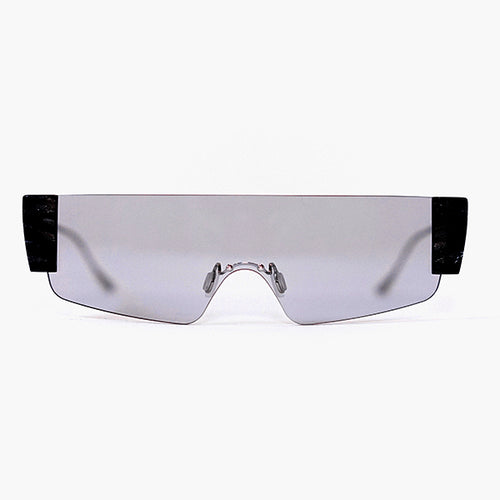 wide safety goggles style sunglasses with grey one-piece lens front