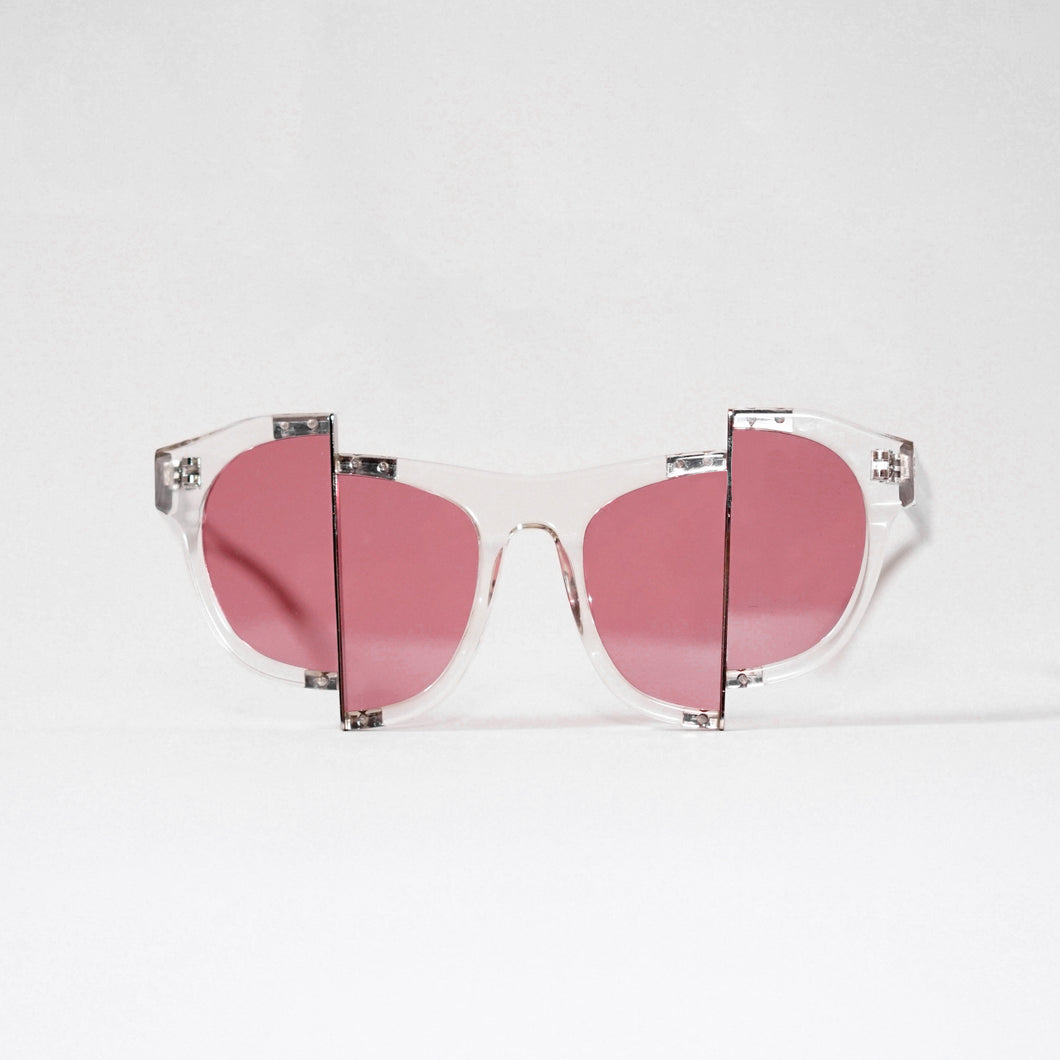 clear acetate frame with dark pink split polaroid lens front