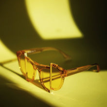 Load image into Gallery viewer, yellow jelly colour acetate frame with matching colour split polaroid lens under the sun 2