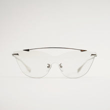 Load image into Gallery viewer, sunglasses in chrome stainless steel frames with colour changing photochromic one-piece lens before exposing to day light front
